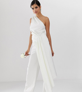 Asos Tall EDITION Tall one shoulder drape side wedding jumpsuit-White