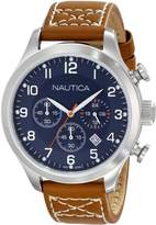 Nautica Men's N14699G BFD 101 Chrono Classic Stainless Steel Watch with Brown Band
