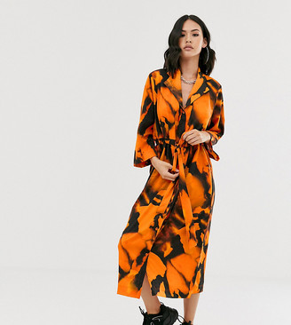 Another Reason slouch shirt dress with drawstring waist in blur print-Orange