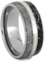 Etsy Meteorite And Black And White Mokume Gane Wedding Band With A 14k White Gold Stripe, Men or Women's