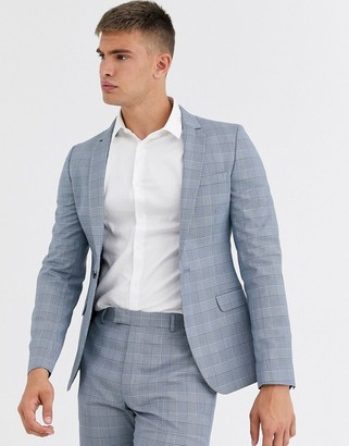 ASOS DESIGN super skinny suit jacket in dusky blue puppytooth check