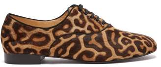 Christian Louboutin Fred Leopard-print Calf-hair Oxford Shoes - Womens - Leopard