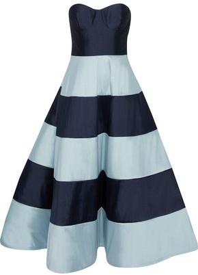 Sachin + Babi Nessa Strapless Two-tone Duchesse Satin-twill Midi Dress