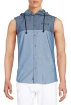 Buffalo David Bitton Seytano Hooded Chambray Sleeveless Shirt