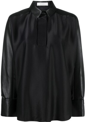 Áeron Faux-Leather Half-Button Shirt