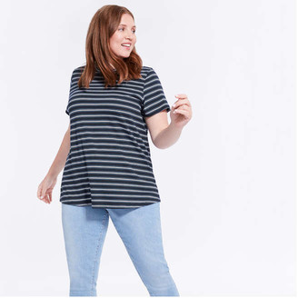 Joe Fresh Women+ Stripe Crew Neck Tee, Blue (Size 1X)