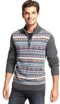 Tommy Hilfiger Fair Isle Quarter Zip Mock Neck Sweater Grey Heather XX-Large