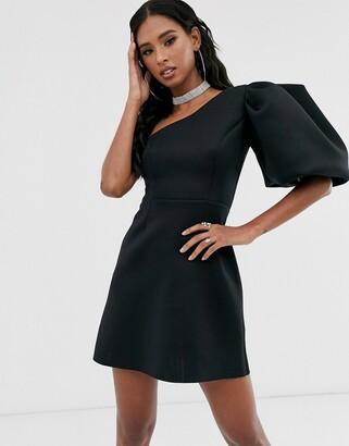 Asos DESIGN one shoulder puff sleeve mini skater dress