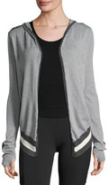 Blanc Noir Silk-Cotton Striped Wrap Cardigan with Hood, Gray