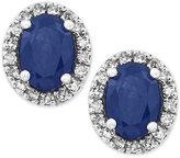 Effy Royale Bleu by Sapphire (1-1/8 ct. t.w.) Diamond (1/8 ct. t.w.) Stud Earrings in 14k White Gold