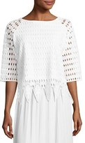 Joan Vass Woven Lace Top, White, Plus Size