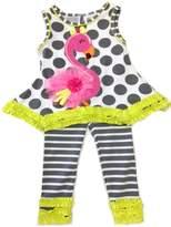 Rare Editions Little Girls Gray Flamingo Legging Set