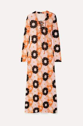 Miu Miu Suede-trimmed Floral-print Stretch-jersey Maxi Dress - Orange