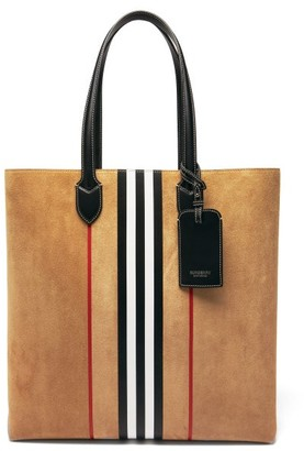 Burberry Kane Icon-stripe Suede-leather Tote Bag - Beige