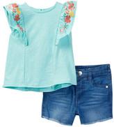 Jessica Simpson Floral Top & Denim Short 2-Piece Set (Baby Girls)