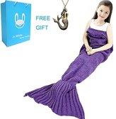 Mermaid Tail Blanket for Kids ,Hand Crochet Snuggle Mermaid,All Seasons Seatail Sleeping Bag Blanket by Jr.White (Kids-Purple)