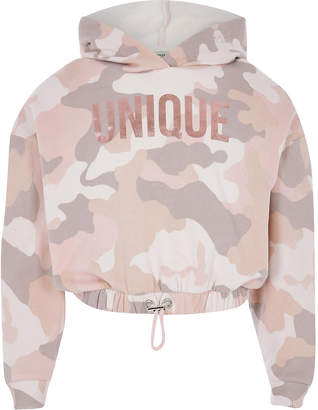 River Island Girls pink camo 'Unique' cropped hoodie