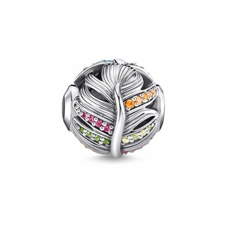 Thomas Sabo Bead Sterling Silver Blackened Glass Ceramic Stone Synthetic Corundum Cubic Zirconia