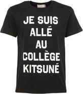 Kitsune Black collège Printed T-shirt