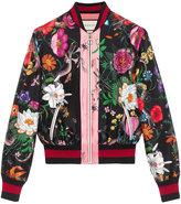 Gucci Flora snake print silk bomber - women - Silk - 42