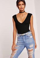 Missguided Plunge Sleeveless Bodysuit Black