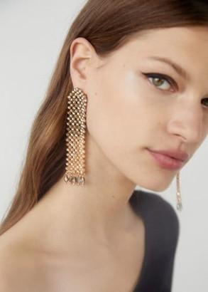MANGO Pendant crystals earrings silver - One size - Women