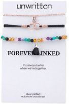 Unwritten 3-Pc. Set Two-Tone Crystal, Cord & Bead Adjustable Bracelets