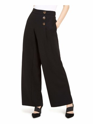 Alfani Womens Black Solid Wide Leg Wear to Work Pants UK Size:20