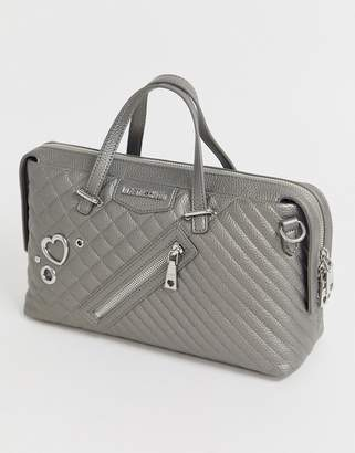 Love Moschino cross heart stud tote bag-Grey