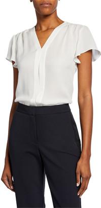 Rebecca Taylor Celina V-Neck Short-Sleeve Silk Top