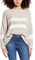 Woven Heart Eyelash Stripe Chenille Sweater