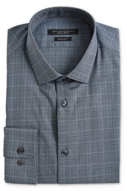 John Varvatos Melange Plaid Regular Fit Dress Shirt