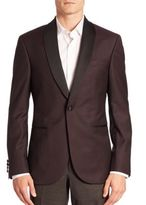 Saks Fifth Avenue Collection Modern Diamond-Print Shawl-Collar Tuxedo Jacket