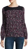 Liz Claiborne Long Sleeve Round Neck Woven Floral Blouse- Talls