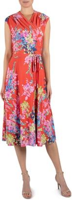 Julia Jordan Floral Wrap Front Sleeveless Jersey Dress