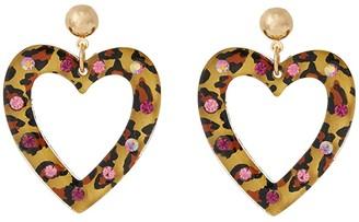 Betsey Johnson Resin Heart Drop Earrings (Leopard) Earring