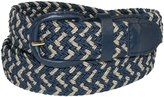 CTM Mens Elastic Matching Buckle Two Tone Stretch Belt, 2XL