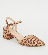 New Look Wide Fit Leopard Print Court Shoes
