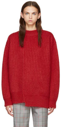 Calvin Klein Red Oversized Needle Punch Knit Sweater