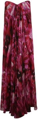 Alexander McQueen Floral Print Off-shoulder Long Dress
