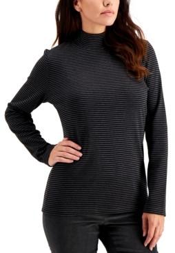 Karen Scott Striped Mock-Neck Top, Created For Macy's