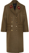 Gucci Double-breasted Appliquéd Wool Coat - Army green