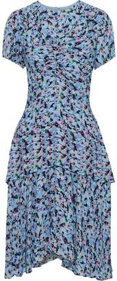 Jason Wu Ruched Floral-print Silk-crepe Dress
