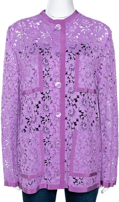 Gucci Lavender Floral Corded Lace Button Front Jacket M