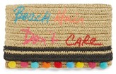 Rebecca Minkoff Beach Hair Pompom Straw Clutch - Ivory