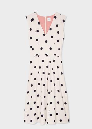 Paul Smith Women's Cream Polka Dot V-Neck Sleeveless Dress