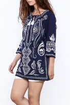 Gretchen Scott Navy Embroidered Tunic Top