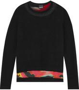 Just Cavalli Layered wool-blend and printed chiffon sweater