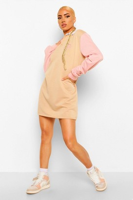 boohoo Graphic Colour Block Rugby Sweater Dress