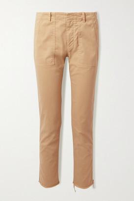 Nili Lotan Jenna Cropped Frayed Cotton-blend Twill Straight-leg Pants - Sand